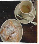 New Orleans Beignets And Coffee Au Lait  Wood Print
