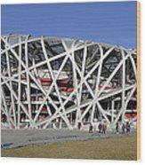 Beijing National Stadium - Site Of 2008 Olympic Games Wood Print by Brendan Reals