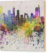 Beijing Skyline In Watercolor Background Wood Print by Pablo Romero