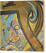 Being Easy Original Abstract Colorful Figure Painting For Sale Yellow Umber Blue Pink Wood Print