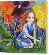 Tiny Flower Fairy Wood Print