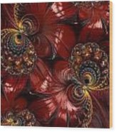 Bejewelled Crimson Wood Print