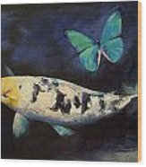 Bekko Koi And Butterfly Wood Print by Michael Creese