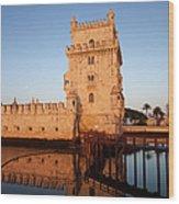 Belem Tower At Sunrise In Lisbon Wood Print