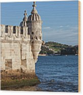 Belem Tower Fortification On The Tagus River Wood Print