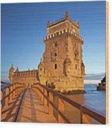 Belem Tower In Lisbon Illuminated At Night Wood Print