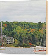Belfast Maine Harbor Wood Print
