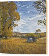 Belfry Fall Landscape Wood Print by Roger Snyder