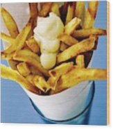Belgian Fries With Mayonnaise On Top Wood Print