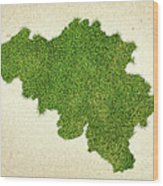 Belgium Grass Map Wood Print by Aged Pixel