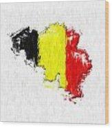 Belgium Painted Flag Map Wood Print