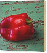 Bell Pepper On Green Board Wood Print