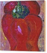 Red Bell Pepper Takes Center Stage Wood Print