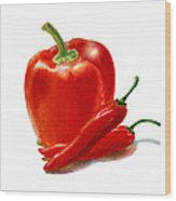 Bell Pepper With Chili Peppers Wood Print