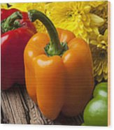 Bell Peppers And Poms Wood Print by Garry Gay