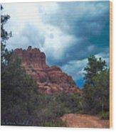 Bell Rock Drama Sky Wood Print