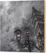 Bell Tower And Street Lamp Wood Print