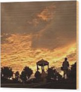 Bell Tower At Sunset Wood Print
