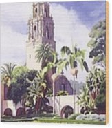 Bell Tower In Balboa Park Wood Print