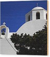 Bella Santorini Island Church Greece  Wood Print