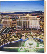 Bellagio Rountains From Eiffel Tower At Dusk Wood Print