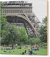 Below The Eiffel Tower Wood Print