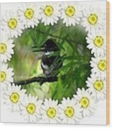 Belted Kingfisher In The Midst Wood Print