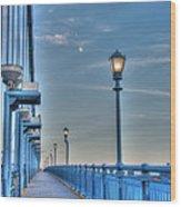 Ben Franklin Bridge Walkway Wood Print