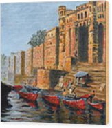 Benaras Ghats Wood Print