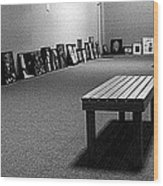 Bench Alone In Pre-show Gallery Wood Print