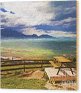 Bench At Kaikora With Approaching Storm Wood Print