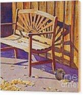 Bench At Sharlot Hall Wood Print