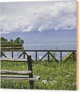 Bench By The Lake. Wood Print by Slavica Koceva
