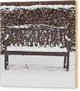 Bench In The Snow Wood Print