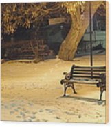 Bench In The Winter Park Wood Print