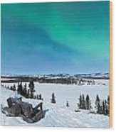 Bench Looking On Lake Laberge With Northern Lights Wood Print