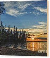 Beautiful Sunset At Waskesiu Lake Wood Print