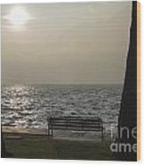 Bench On A Foggy Lake Front Wood Print
