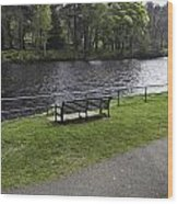 Bench On Shore Of River Ness In Inverness Wood Print