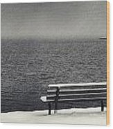 Bench On The Winter Shore Wood Print