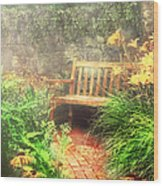 Bench - Privacy  Wood Print by Mike Savad