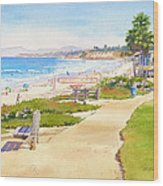 Benches At Powerhouse Beach Del Mar Wood Print by Mary Helmreich