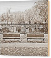 Benches By The Cemetery In Sepia Wood Print