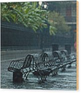 Benches In The Rain Wood Print