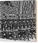 Benches In The Snow - Bw Wood Print
