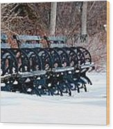 Benches In The Snow Wood Print