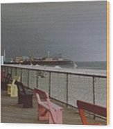 Benches Of Seaside Heights Nj Wood Print by Joann Renner