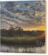 Bend In The Bayou Sunrise Wood Print