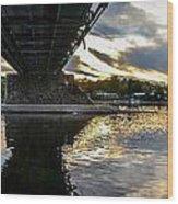 Beneath The New Hope - Lambertville Bridge Wood Print