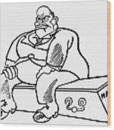 Benito Mussolini Cartoon Wood Print